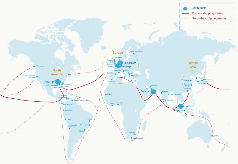 Principales rutas de transporte marítimo